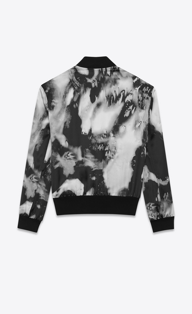 SAINT LAURENT Casual Jackets Man Tie-dye Varsity jacket in flowing black and gray satin b_V4