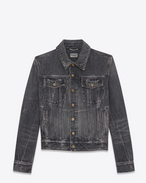 SAINT LAURENT Casual Jackets U Faded black denim vest with WAITING FOR SUNSET patches f
