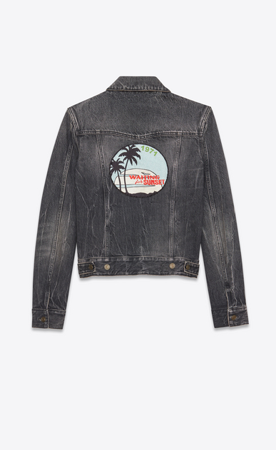 SAINT LAURENT Casual Jacken U Jeansjacke aus ausgebleichtem schwarzem Denim mit WAITING FOR SUNSET Patches a_V4