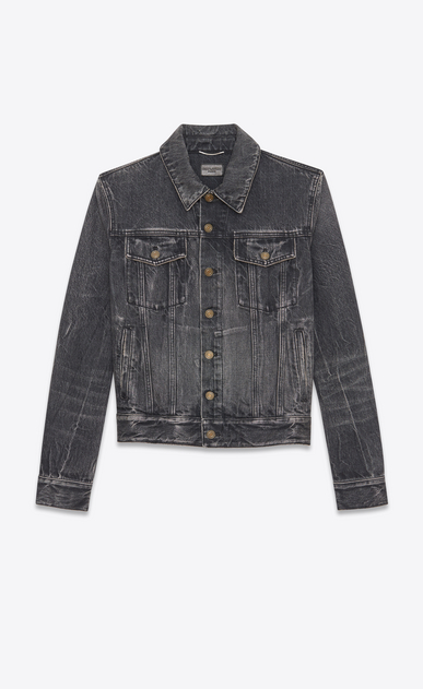 SAINT LAURENT Casual Jacken U Jeansjacke aus ausgebleichtem schwarzem Denim mit WAITING FOR SUNSET Patches b_V4
