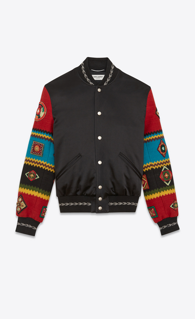 SAINT LAURENT Casual Jackets U Varsity jacket in black satin with multicolored embroidered sleeves. a_V4