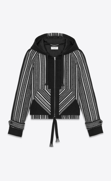 SAINT LAURENT Casual Jackets Man BAJA jacket in black wool and cotton with Peruvian motifs a_V4