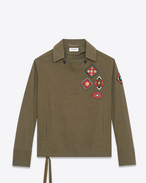 SAINT LAURENT Casual Jackets U Tunic with Indian patches in khaki gabardine f