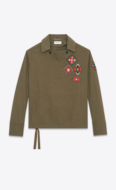 SAINT LAURENT Casual Jackets U Tunic with Indian patches in khaki gabardine a_V4