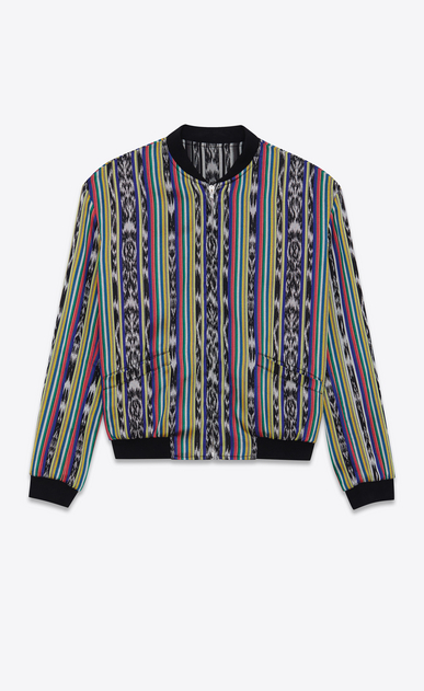 SAINT LAURENT Casual Jackets Man Reversible Varsity jacket with ikat stripes in multicolored cotton a_V4