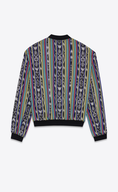 SAINT LAURENT Casual Jackets Man Reversible Varsity jacket with ikat stripes in multicolored cotton b_V4