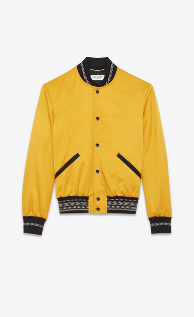 SAINT LAURENT Casual Jackets Man Varsity jacket with ikat patterns in yellow satin gabardine a_V4