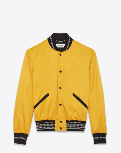 Teddy Contrast-Trim Bomber Jacket in Yellow