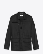 SAINT LAURENT Casual Jackets U WAITING FOR SUNSET military parka with badge in black cotton gabardine and linen f