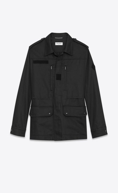 SAINT LAURENT Casual Jackets U WAITING FOR SUNSET military parka with badge in black cotton gabardine and linen b_V4