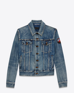 SAINT LAURENT Casual Jackets U Faded blue denim jacket with LOVE ME FOREVER patch f