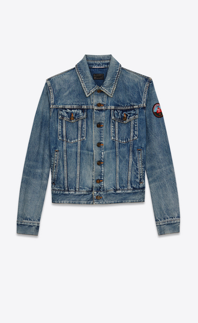 SAINT LAURENT Casual Jacken U Ausgebleichte, blaue Denimjacke mit LOVE ME FOREVER Patch a_V4
