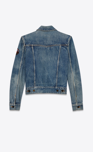 SAINT LAURENT Casual Jacken U Ausgebleichte, blaue Denimjacke mit LOVE ME FOREVER Patch b_V4