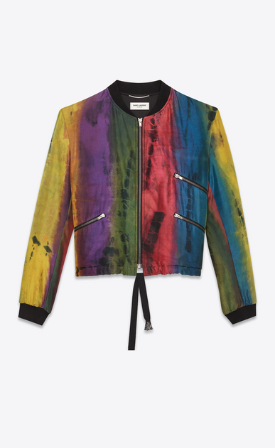 SAINT LAURENT Casual Jackets Man tie-dye varsity jacket in multicolored silk a_V4