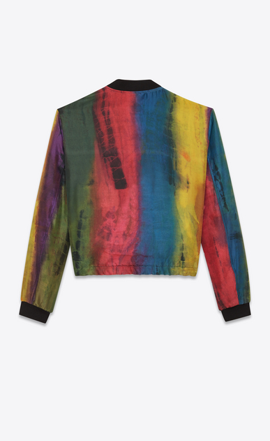 SAINT LAURENT Casual Jackets Man Tie-dye Varsity jacket in multicolored silk. b_V4