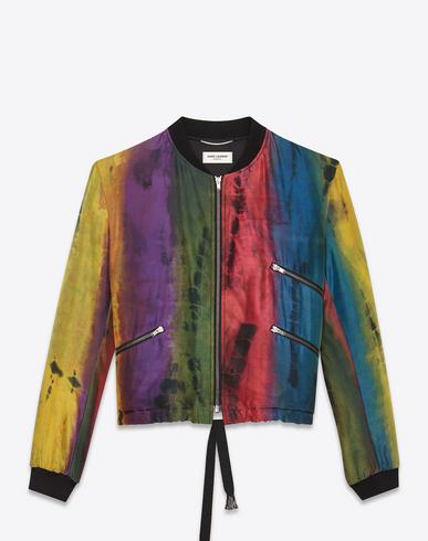 Tie-Dyed Rainbow-Print Silk Bomber Jacket in Multicolour