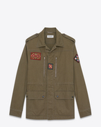 SAINT LAURENT Casual Jackets U Military parka with Indian patch in khaki gabardine f