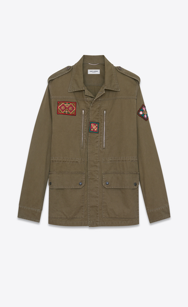 SAINT LAURENT Casual Jackets U Military parka with Indian patch in khaki gabardine a_V4