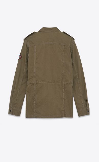 SAINT LAURENT Casual Jacken U Army-Parka aus khakigrünem Gabardine mit Indian-Patch b_V4