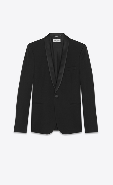 SAINT LAURENT Evening Jackets Man jacket with shawl collar in organic black gunpowder a_V4