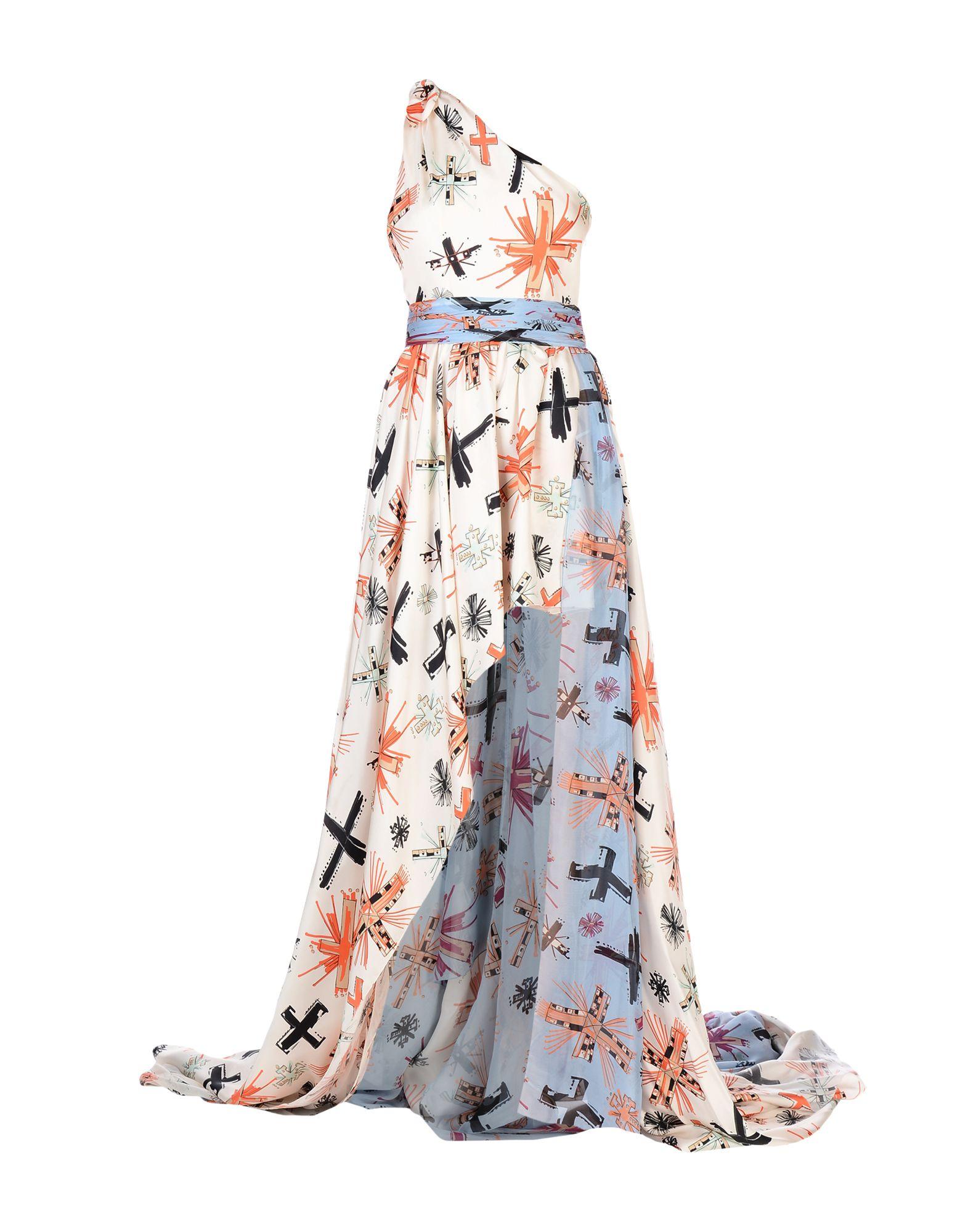 《セール開催中》FAUSTO PUGLISI レディース ロングワンピース&ドレス アイボリー 42 シルク 100%