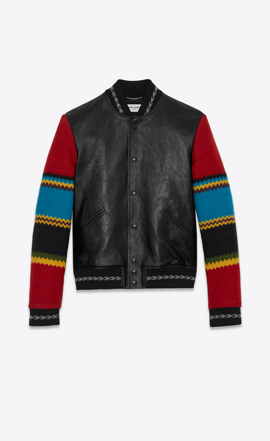 SAINT LAURENT Leather jacket U Varsity jacket in black leather with multicolored sleeves a_V4