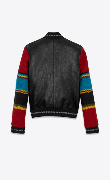 SAINT LAURENT Leather jacket Man Varsity jacket in black leather with multicolored sleeves b_V4