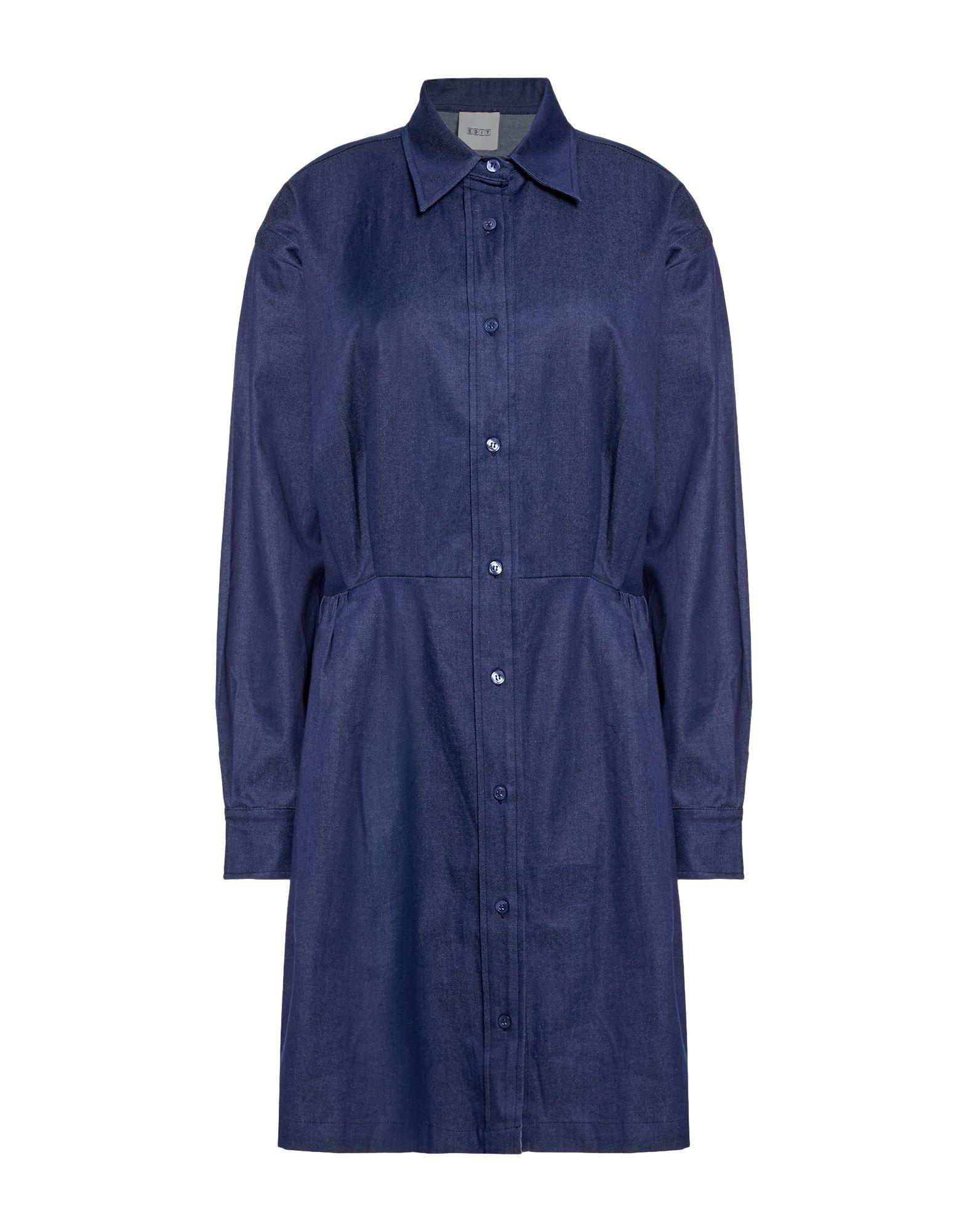《送料無料》EDIT レディース ミニワンピース&ドレス ブルー S コットン 100%