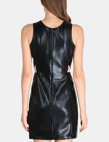 ARMANI EXCHANGE HIGH-SHINE CUTOUT WAIST SHEATH Mini dress Woman r
