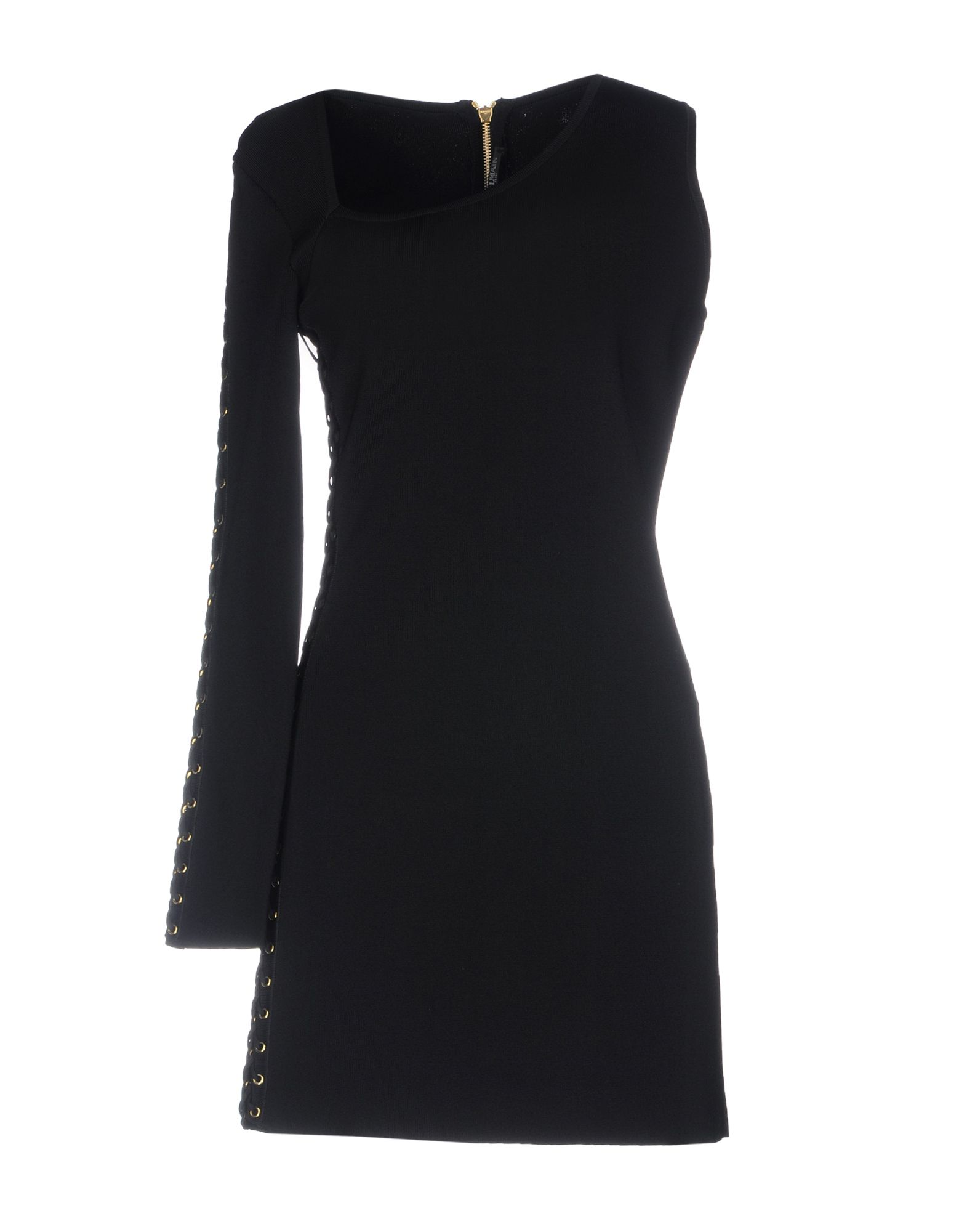 BALMAIN Short dresses. Knitted Laces Metal Applications Solid color V-neck Sleeveless No pockets Unlined Rear closure Zip Lightweight sweater Pencil style Small sized. 89% Viscose, 10% Polyamide, 1% Elastane