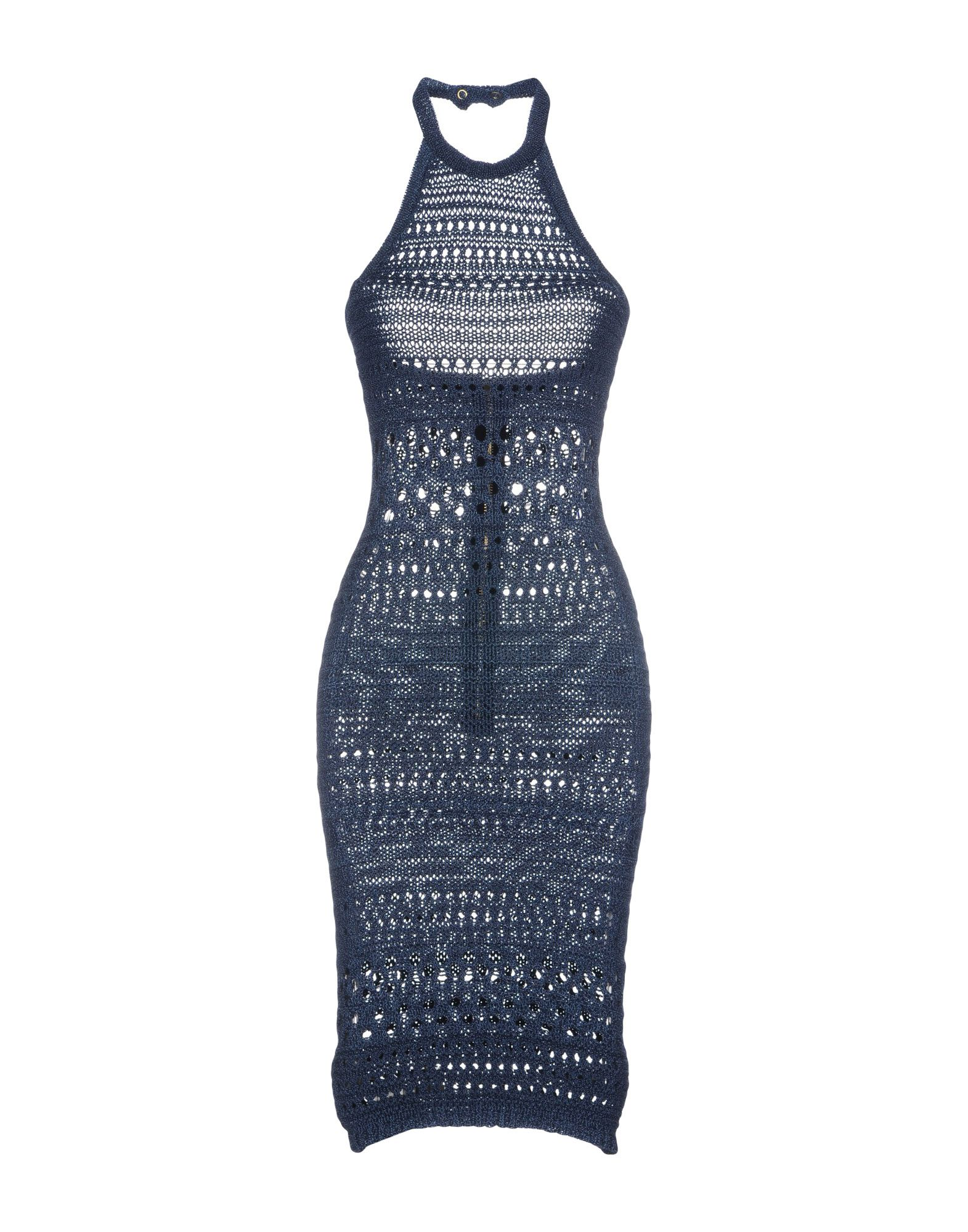 BALMAIN 3/4 length dresses. knitted, openwork, no appliqués, two-tone, round collar, sleeveless, no pockets, unlined, rear closure, zip, tube dress, small sized. 85% Cotton, 15% Viscose