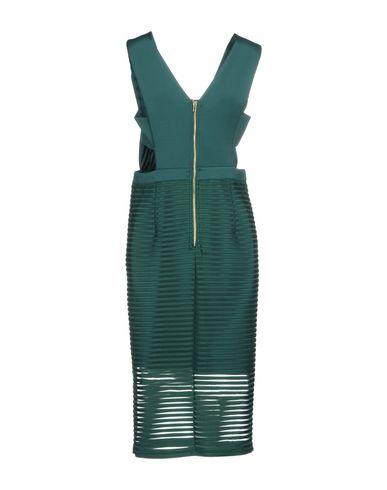 Фото 2 - Платье до колена изумрудно-зеленого цвета