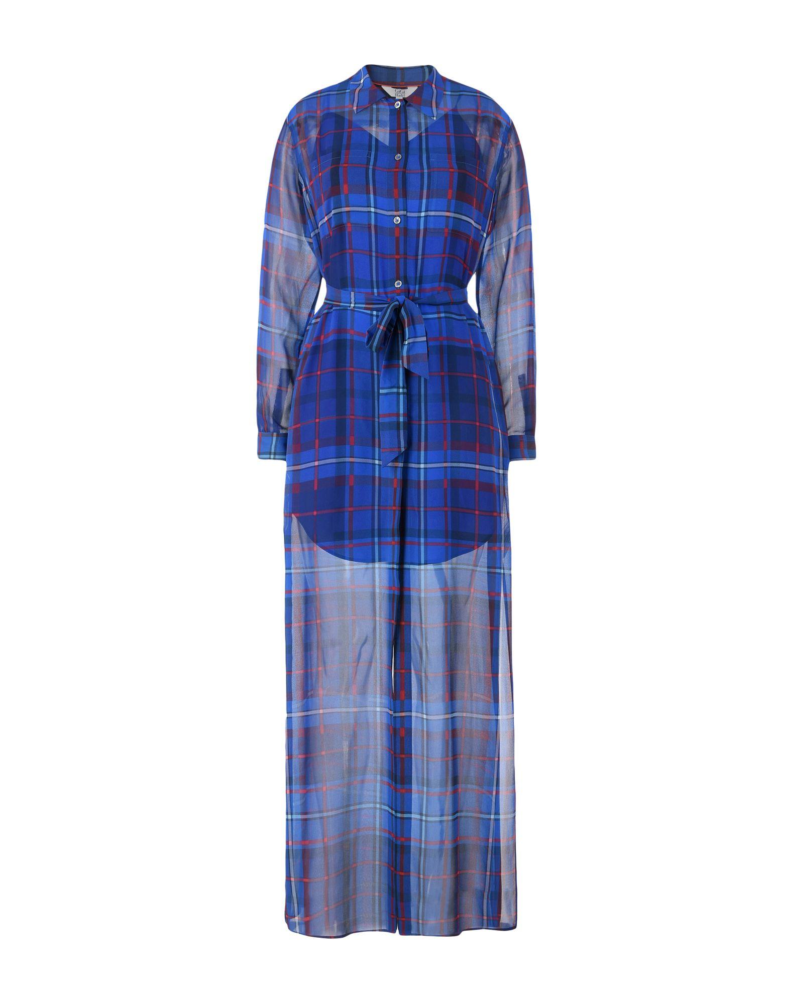 GIGI HADID x TOMMY HILFIGER Damen Langes Kleid Farbe Blau Größe 4