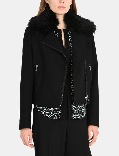 FAUX-FUR COLLAR WOOL MOTO