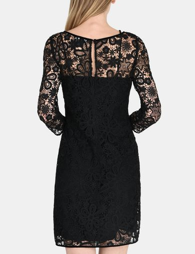 FLORAL LACE OVERLAY SHEATH DRESS
