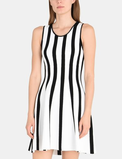 STRIPED CUTOUT FLARE DRESS