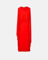One Side Long Cape Belted Jersey Evening Gown, Red