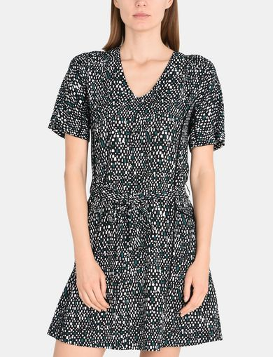 GEO PRINT V-NECK SWING DRESS