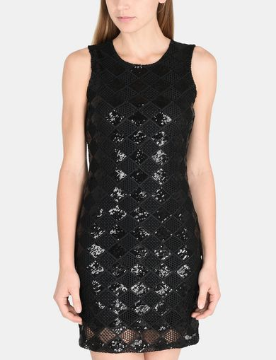 SHEER SEQUIN ARGYLE SHEATH