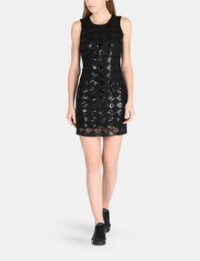 ARMANI EXCHANGE SHEER SEQUIN ARGYLE SHEATH Mini dress D a