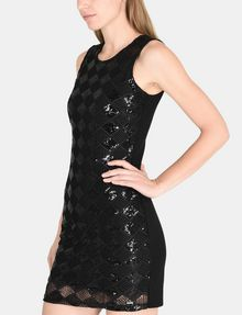 ARMANI EXCHANGE SHEER SEQUIN ARGYLE SHEATH Mini dress D d