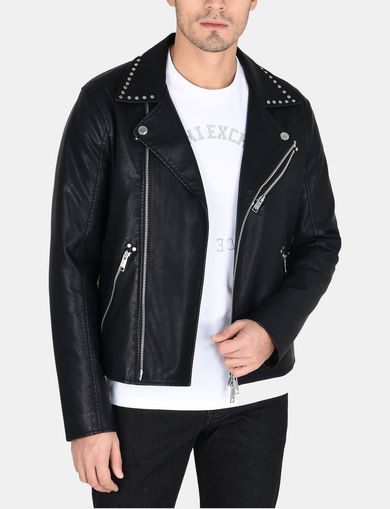 STUDDED FAUX-LEATHER MOTO