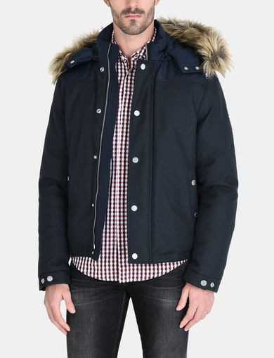 SHORT TWILL PARKA WITH REMOVABLE HOOD