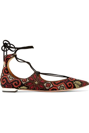 AQUAZZURA Christy embroidered suede point-toe flats
