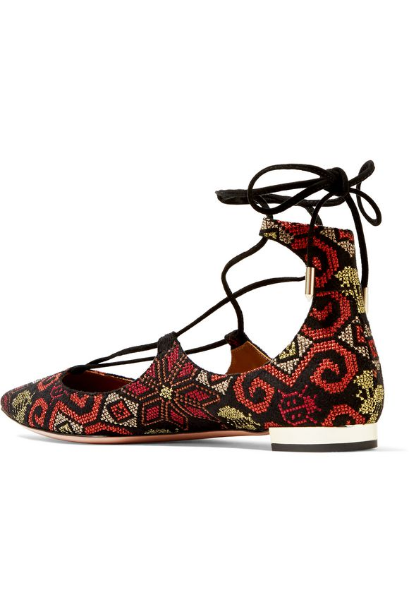 Christy embroidered suede point-toe flats | AQUAZZURA | Sale up to 70% off  | THE OUTNET