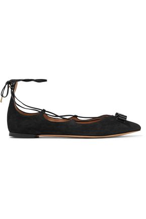 SALVATORE FERRAGAMO Claire lace-up suede point-toe flats
