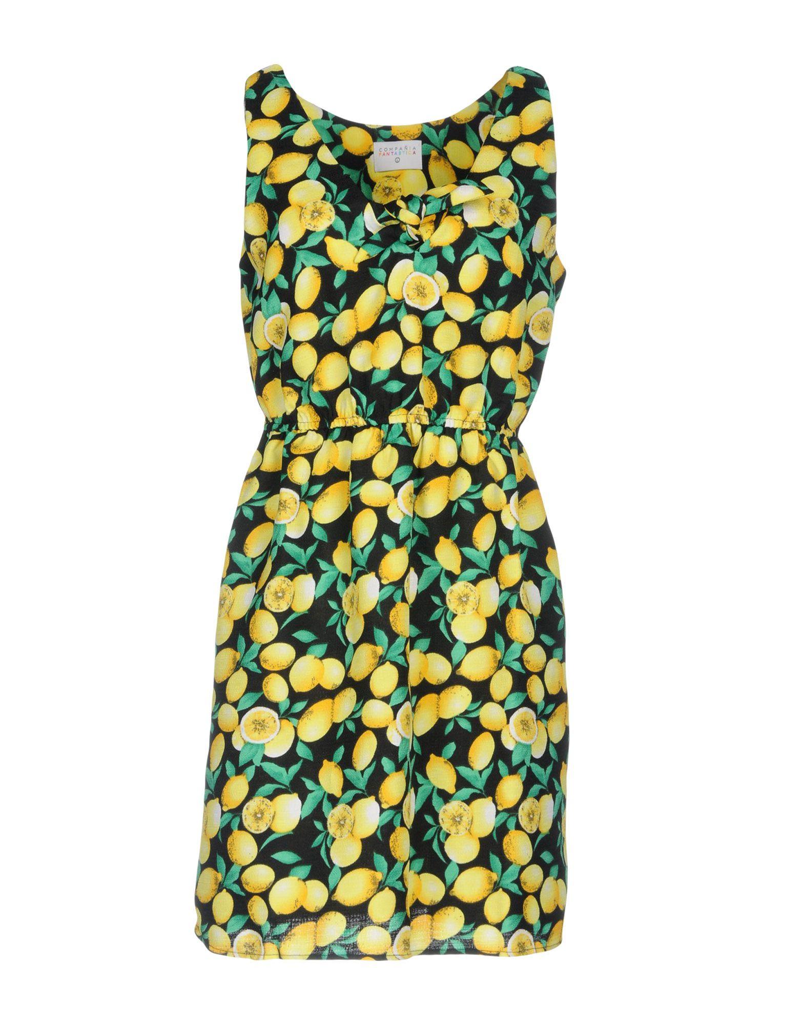 COMPAÑIA FANTASTICA Damen Kurzes Kleid Farbe Gelb Größe 3