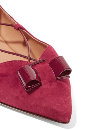 SALVATORE FERRAGAMO Bow-embellished lace-up suede point-toe flats