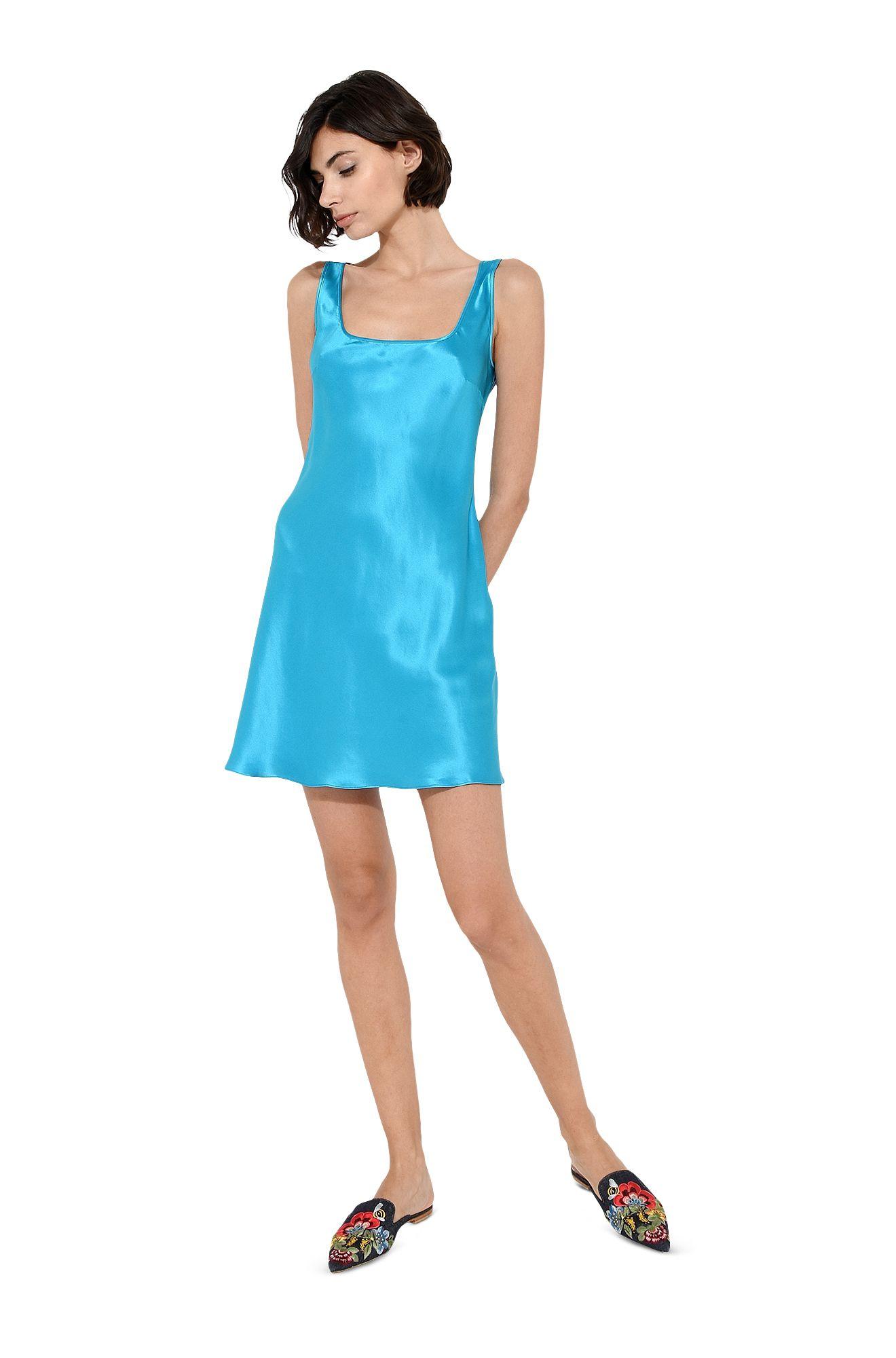 Mini abito sottoveste blu brillante