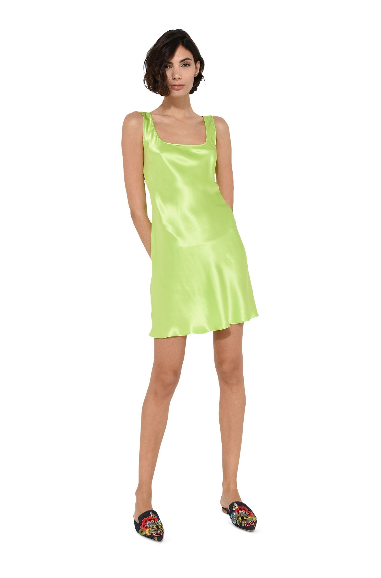 Fluo green camisole minidress